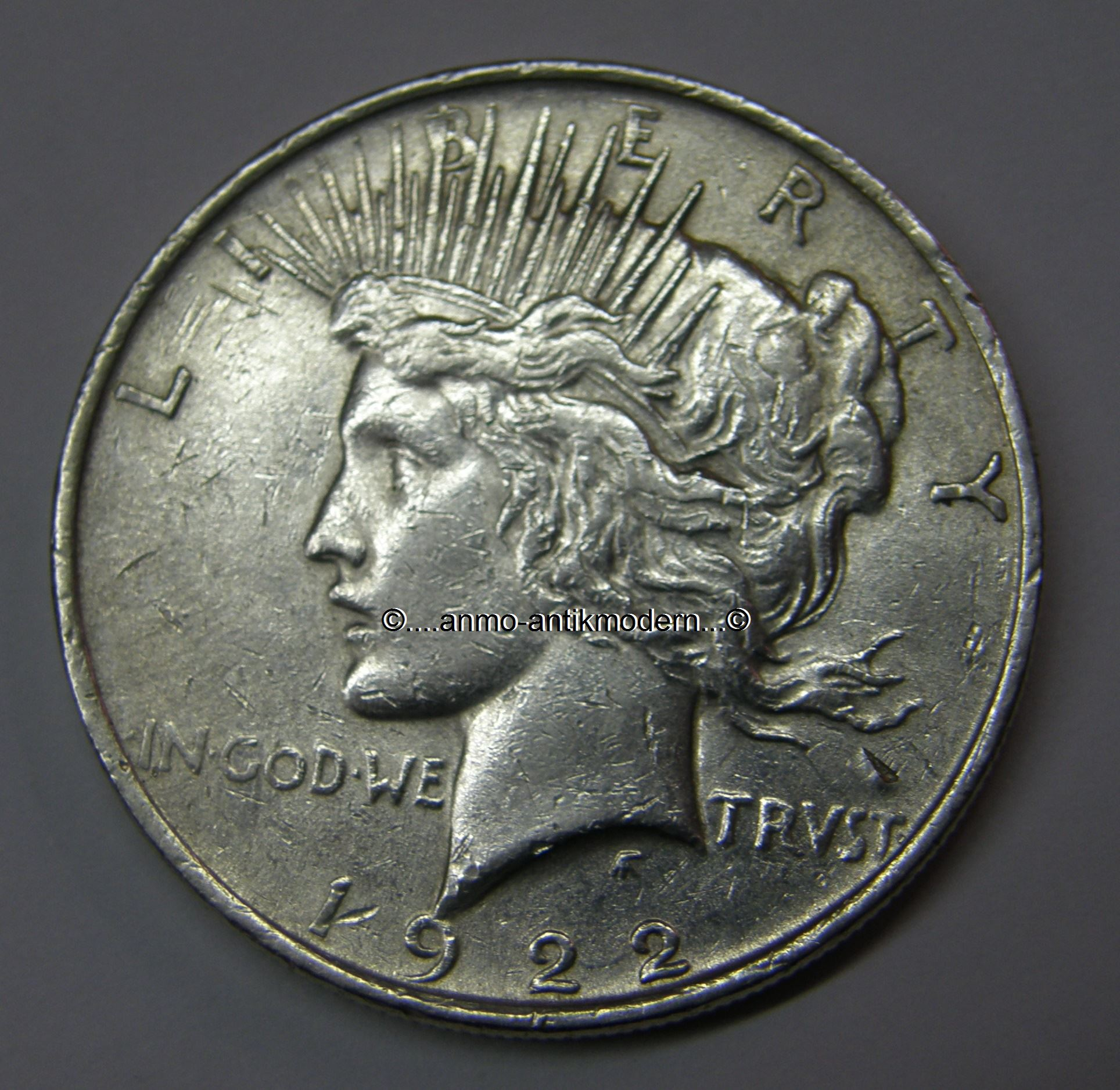 Anmo Antikmodernde 1 Dollar Usa 1922 Peace Liberty Silber 900